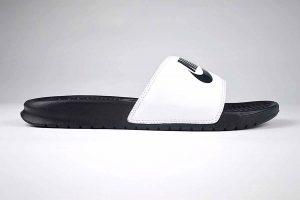 "Nike Benassi JDI Slide White & Black <span class=""prodcode""><br>343880-100</span>"